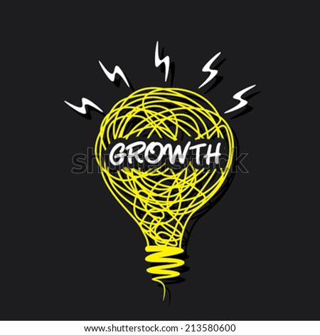growth word on sketch bulb design vector