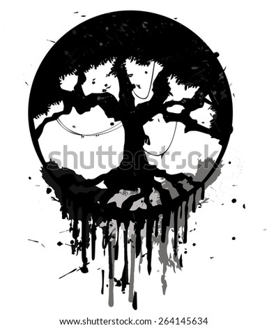 Grunge abstract tree - stock vector