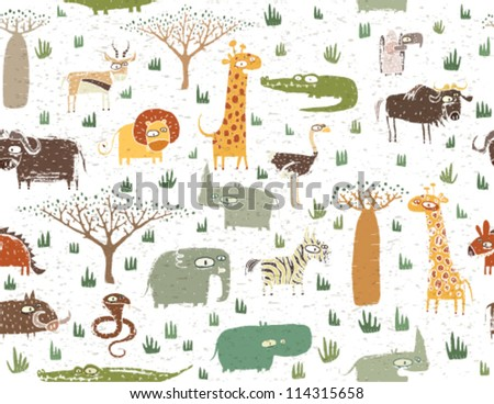 Grunge African Animals Seamless Pattern - stock vector