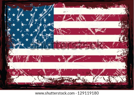 Grunge American flag. - stock vector