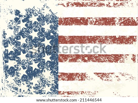 Grunge American flag background. Vector illustration, EPS 10 - stock vector