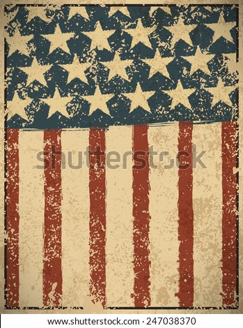 Grunge American flag background. Vector illustration, EPS 10