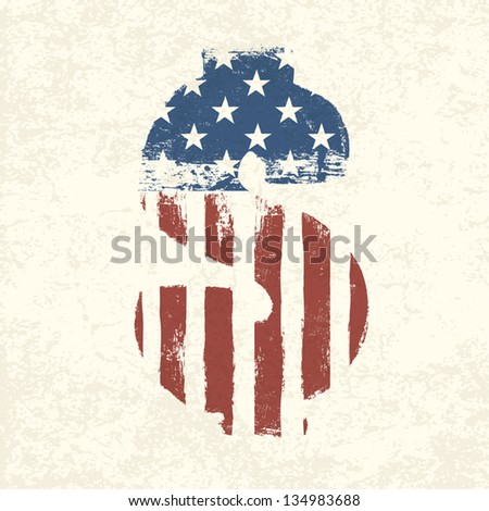 Grunge american flag themed dollar sign. - stock vector