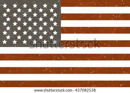 Grunge American flag. Vector illustration. - stock vector