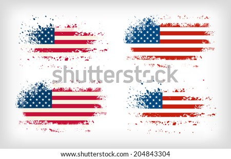 Grunge american ink splattered flag vectors - stock vector