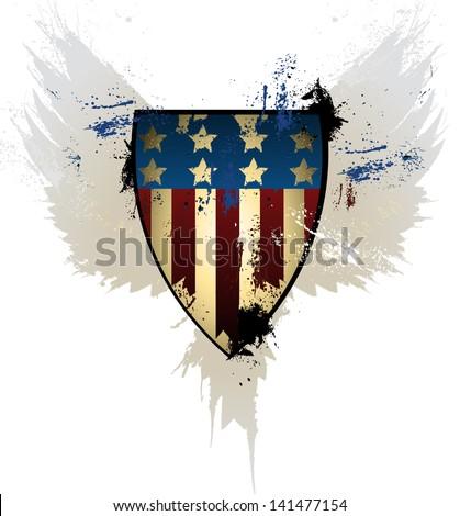 Grunge American Shield - stock vector