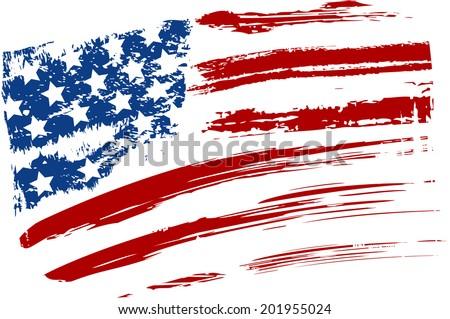 Grunge American USA flag - splattered star and stripes - stock vector
