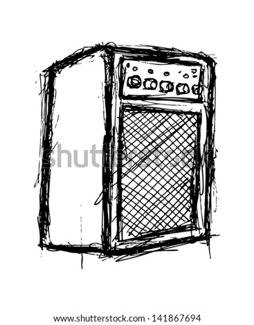 Grunge amplifier isolated on white background - stock vector