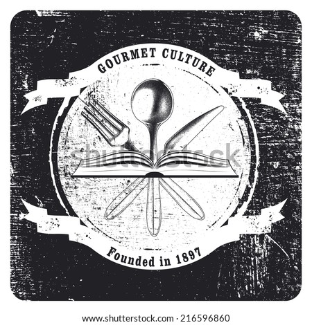 grunge and vintage gourmet shield - stock vector