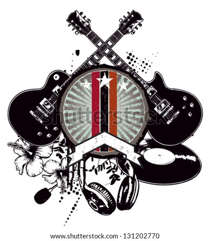 grunge and vintage music shield - stock vector