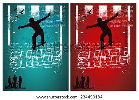 grunge and vintage skate poster with rider - stock vector