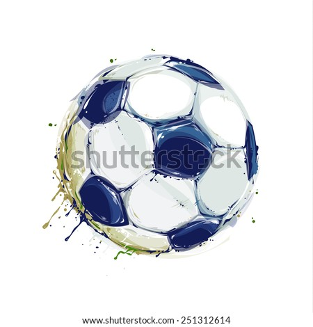Grunge aquarelle styled soccer ball on white. Vector illustration. - stock vector
