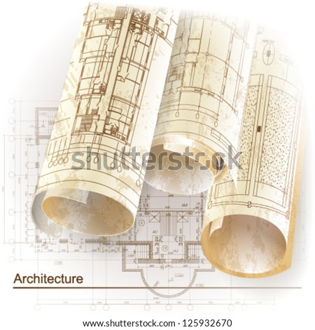 Grunge architectural background with rolls of drawings for your business site. Vector clip-art - stock vector