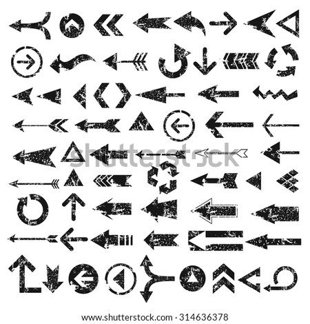 Grunge Arrows design on white background, vector - stock vector