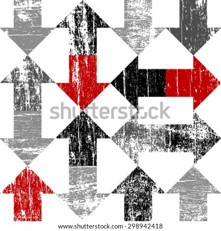 grunge arrows on white seamless pattern - stock vector
