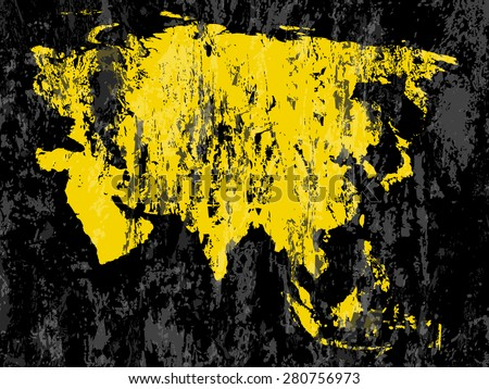 Grunge Asia map on a black background.