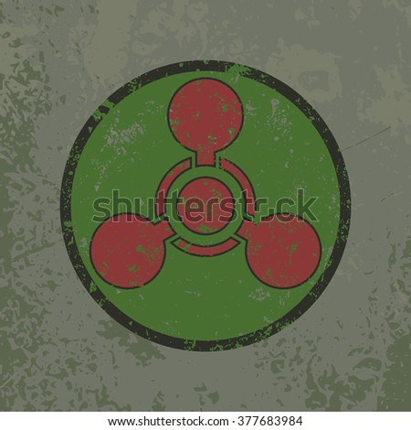 """Grunge attention poster. Vector illustration of """"Chemical Weapon"""" sign on grungy dirty background in grey, green and red colors. It can be used as a poster, wallpaper, t-shirts design. Fully editable. - stock vector"""