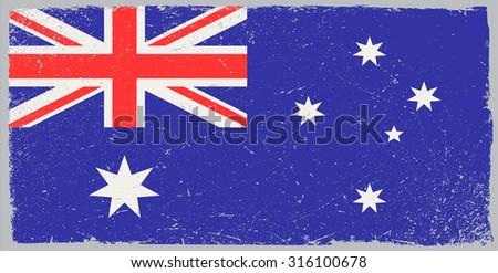Grunge Australia flag.Vintage Australian flag.Vector illustration. - stock vector
