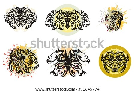 Grunge awful tribal wings. Butterfly wings formed by the head of a rhinoceros and lion with colorful floral splashes, blood drops and against the decorative sun - stock vector