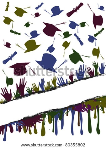Grunge background illustration of a group of graduates tossing - stock vector