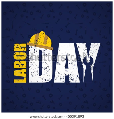 Grunge background Labor Day typography on blue background