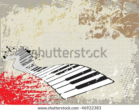 grunge background of piano, illustration - stock vector