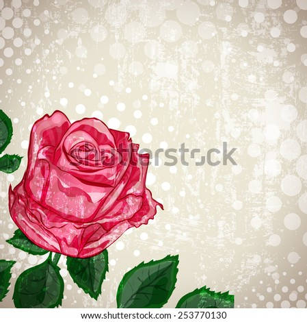 Grunge Background of Vintage Abstract Rose Flower  - stock vector