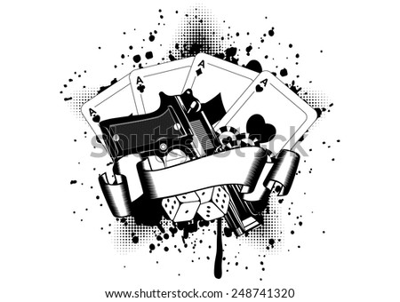 Grunge background pistols and playing cards dice chips - stock vector