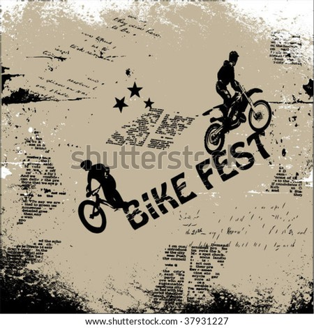 grunge background vector with bicycle silhouettes