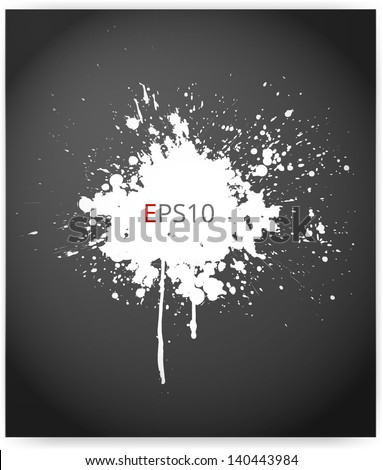 Grunge background with a big white splash. Vector illustration. - stock vector