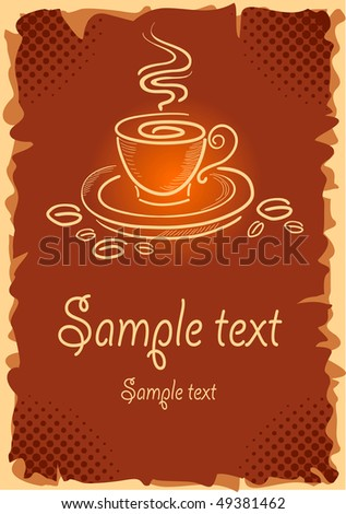 Grunge background with art coffee cup, vector illustration - stock vector
