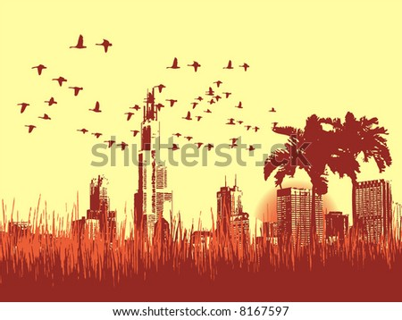 Grunge background with birds, summer time - stock vector