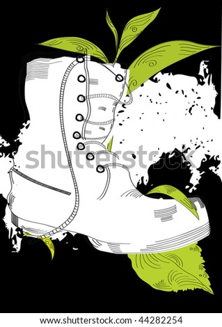 Grunge background with boot and grass - stock vector