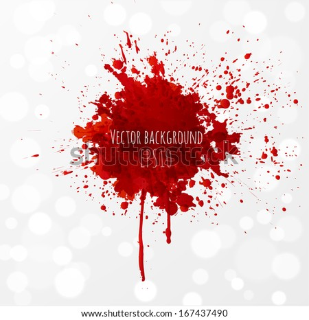 Grunge background with bright red splash. Vector illustration  - stock vector