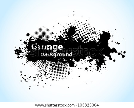 Grunge background with circles and black ink - stock vector