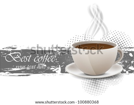 Grunge background with coffe cup and steam - stock vector