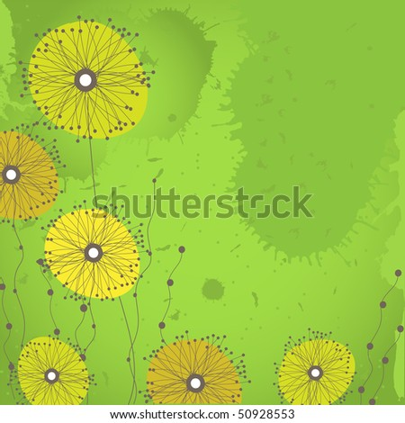 Grunge background with dandelion flowers on green. Vector illustration
