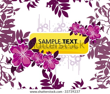 grunge background with flowers - stock vector