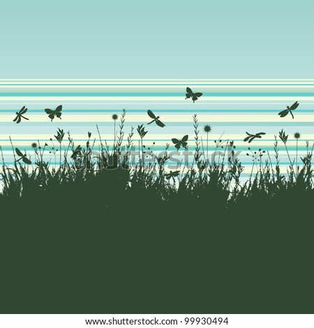 Grunge background with flying insects - vector - stock vector