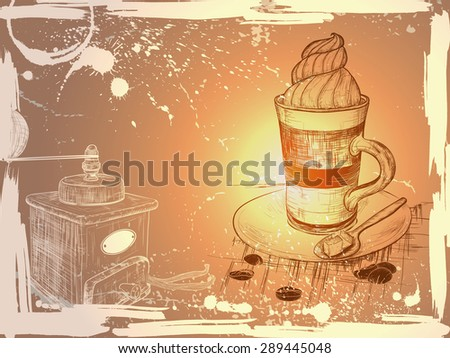 Grunge background with hand drawn cup of coffee and coffee grind