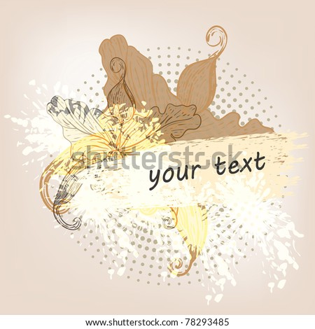 grunge   background with  lilies and place for your text eps 10, - stock vector