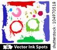 Grunge Backgrounds multicolor ink. Vector frames - stock vector