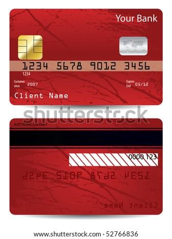 Grunge bank card - stock vector