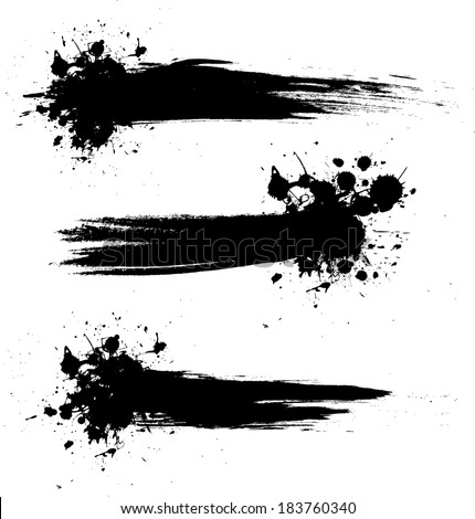 Grunge banner backgrounds in black color - stock vector