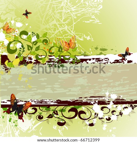 grunge banner design with butterflies - stock vector