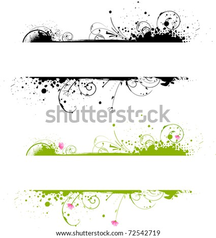 Grunge banner frame in black color and colorful variant - stock vector
