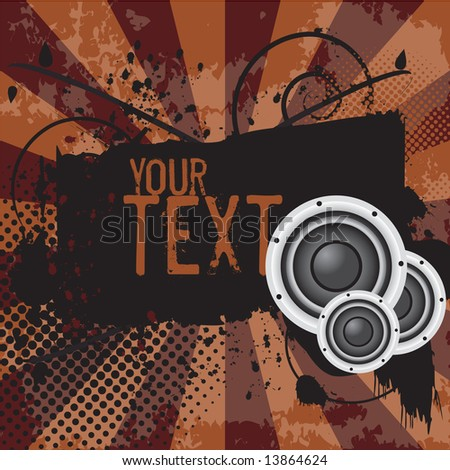 Grunge banner / shield with space to add your own text. Includes butterflies, vector halftones, and inksplats on a sunburst background. (Grunge Banner 4) - stock vector