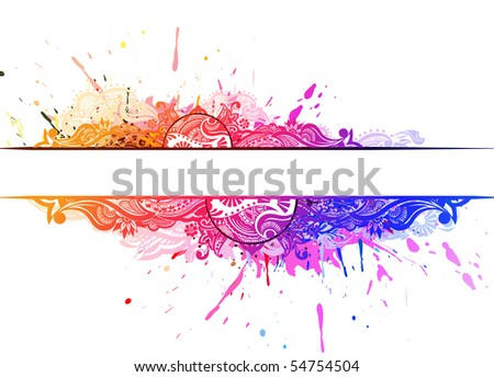 Grunge banner with an inky dribble strip banner with space of your text, vector illustration - stock vector