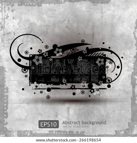Grunge banner with floral background - stock vector