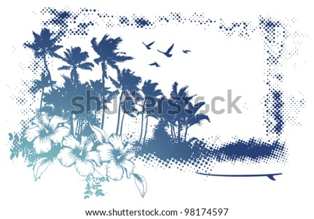 grunge banner with lot of palms
